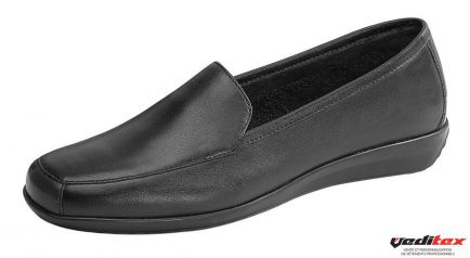 13968c665a77 Chaussure de service femme en cuir avec talon compensé