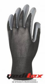 "Gants de protection polyester noir, enduction nitrile ""1NIBB"""
